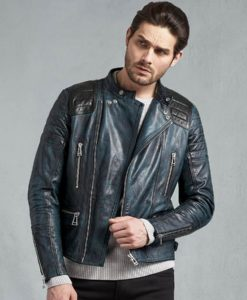 Clark Mens Antique Lagoon Leather Biker Cafe Racer Jacket