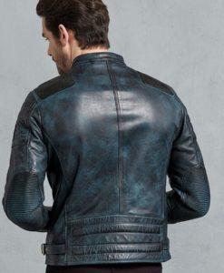 Clark Mens Antique Lagoon Leather Biker Cafe Racer Jacket