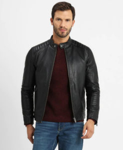 Ellis Mens Antique Press Stud Collar Black Biker Leather Jacket