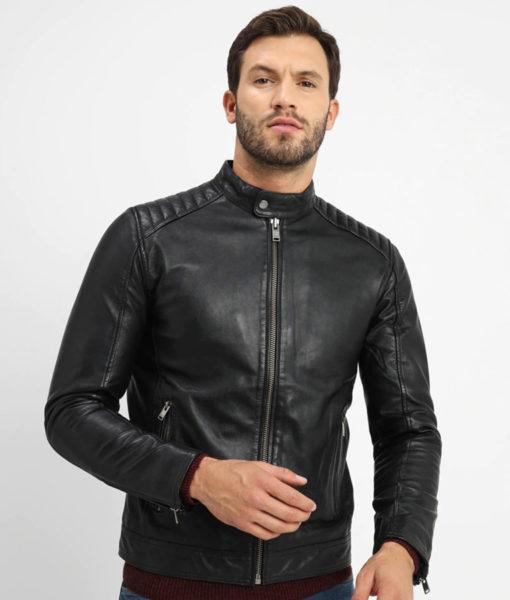 Ellis Mens Antique Press Stud Collar Black Biker Leather Jacket (4)