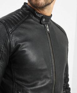 Ellis Mens Antique Press Stud Collar Black Biker Leather Jacket