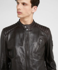 Ethan Mens Mandarin Collar Black Café Racer Leather Jacket
