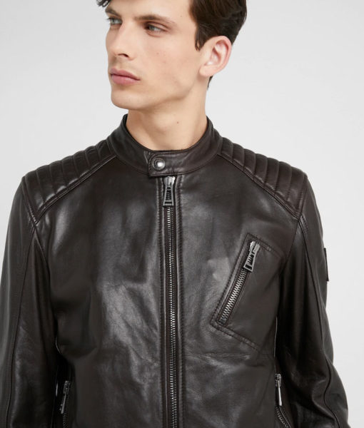 Ethan Mens Mandarin Collar Black Café Racer Leather Jacket