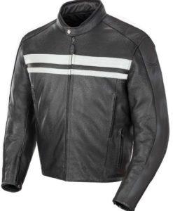 Hampshire Mens White Stripe Leather Jacket