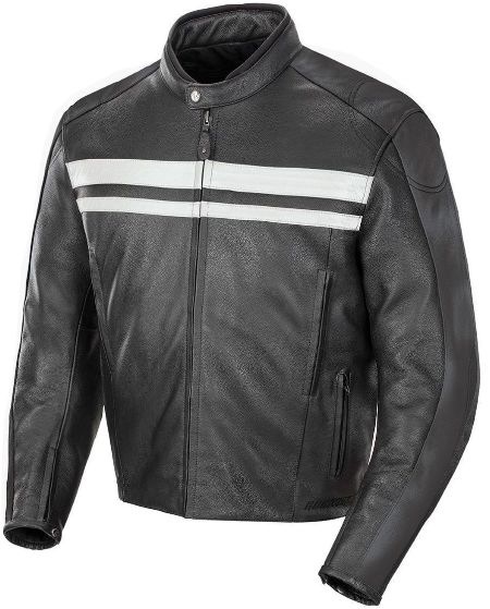 Hampshire Mens White Stripe Leather Jacket