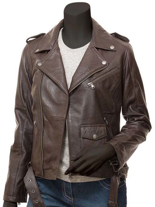 Dauphin Ladies Brown Biker Jacket