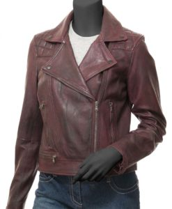Kimberley Red Leather Moto Jacket