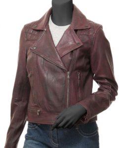 Kimberley Red Leather Moto Jacket