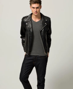 Almeida Mens Casual Slimfit Black Biker Leather Jacket