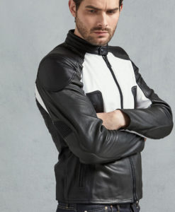 Robert Mens Black And White Vintage Pewter Café Racer Leather Jacket