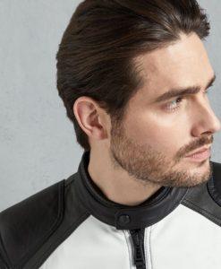 Robert Mens Black And White Vintage Pewter Café Racer Leather Jacket