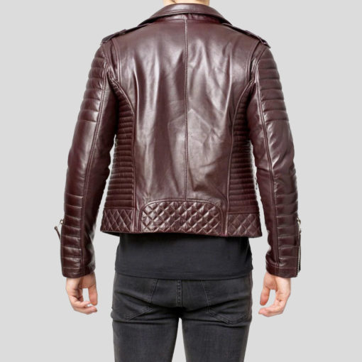 Men's Brown Quilted Leather Jacket
