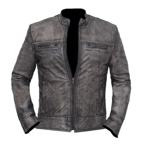 Charles Vintage Distressed Grey Motorcycle Leather Jacket