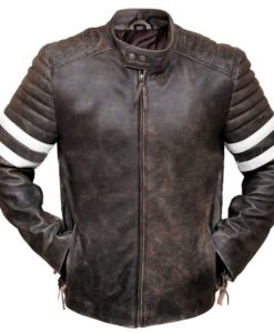 Fight Club Distressed Brown Leather Jacket