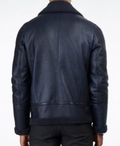 blue shearling leather jacket back