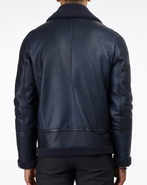 blue shearling leather jacket back