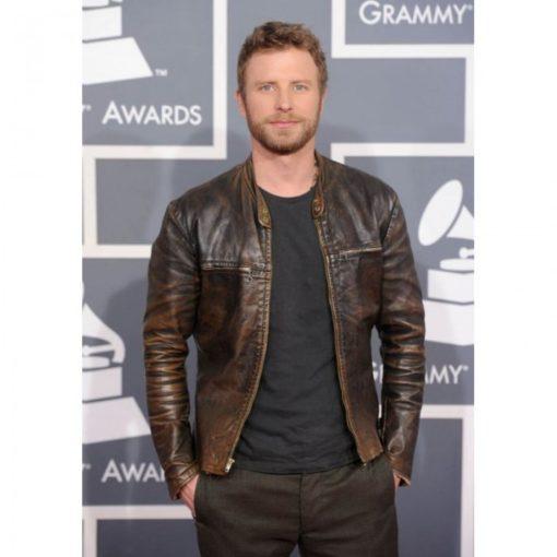 grammy awardsdierks bentley dark brown leather-jacket