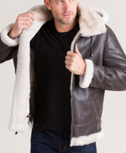 Bennett Mens Classic Shearling B-3 Bomber Jacket with Detachable Hood