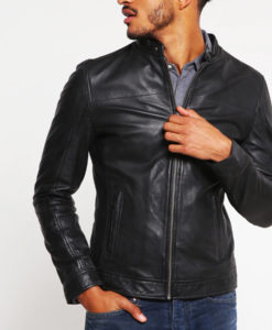 Bobby Mens Standing Collar Slimfit Casual Black Leather Jacket