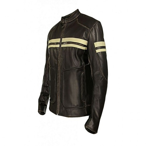 Dark Brown Café Racer Leather Jacket