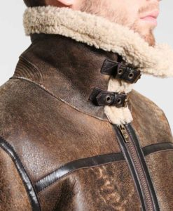 Fancher Mens Turn Down Collar Shearling Collar Brown Leather Jacket