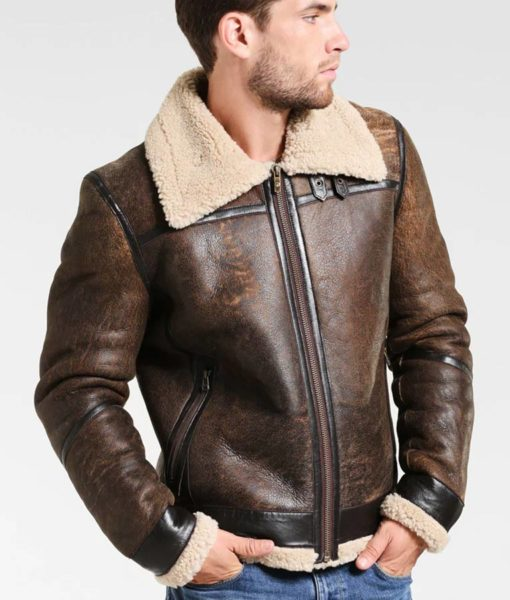Fancher Mens Turn Down Collar Shearling Collar Brown Leather Jacket (4)