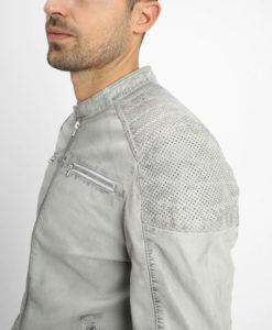 Frazier Mens Mandarin Collar Light Grey Cafe Racer Leather Jacket