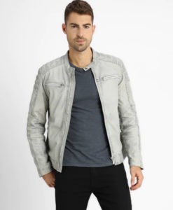 Frazier Mens Mandarin Collar Light Grey Cafe Racer Leather Jacket
