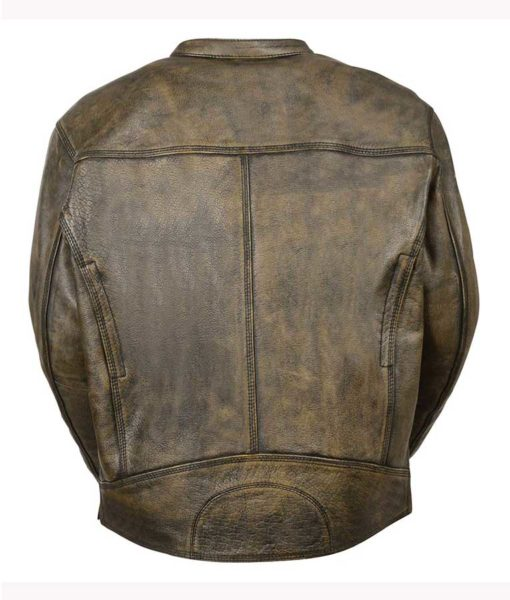 Men's Motorcycle Distressed Brown Cafe Racer Jacket