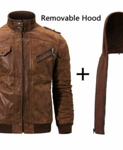 Mens Distressed Brown Leather Jacket With Hood