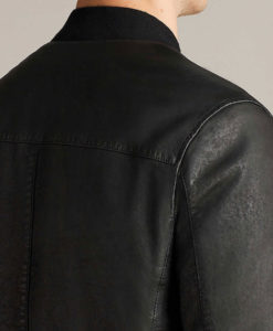 Pearson Mens Slimift Atlantic Grey Cafe Racer Bomber Leather Jacket