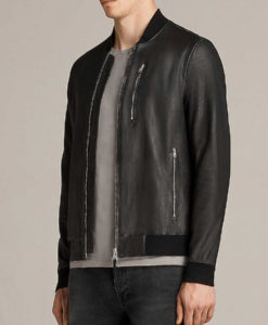 Pearson Mens Slimift Atlantic Grey Cafe Racer Bomber Leather Jacket