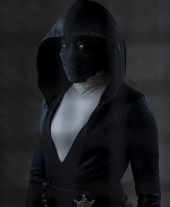Regina King Watchmen Leather Hooded Coat