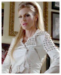 True Blood Pam White Studded Leather Jacket