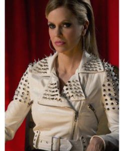 True Blood Pam White Studded Leather Jacket