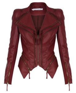 Women Slimfit Tuxedo Zipper Moto Blazer Jacket