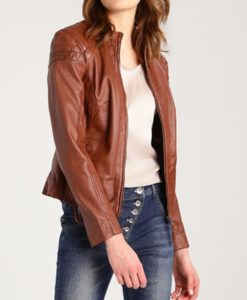 Womens Brown Café Racer Leather Jacket