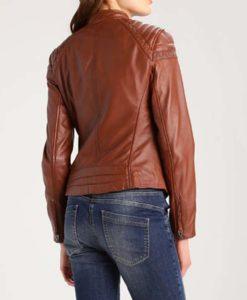 Womens Brown Café Racer Leather Jacket