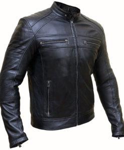 Mens Black Cafe Racer Jacket