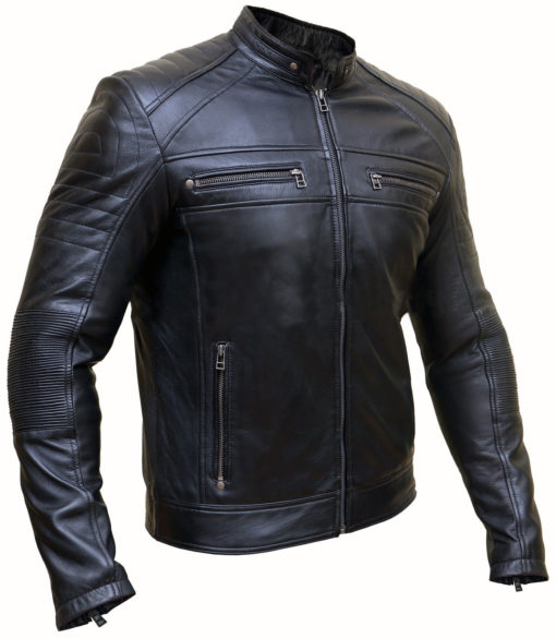 Mens Black Cafe Racer Jacket