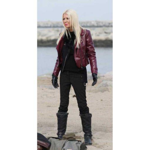 April Wexler Sharknado 6 Maroon Leather Jacket