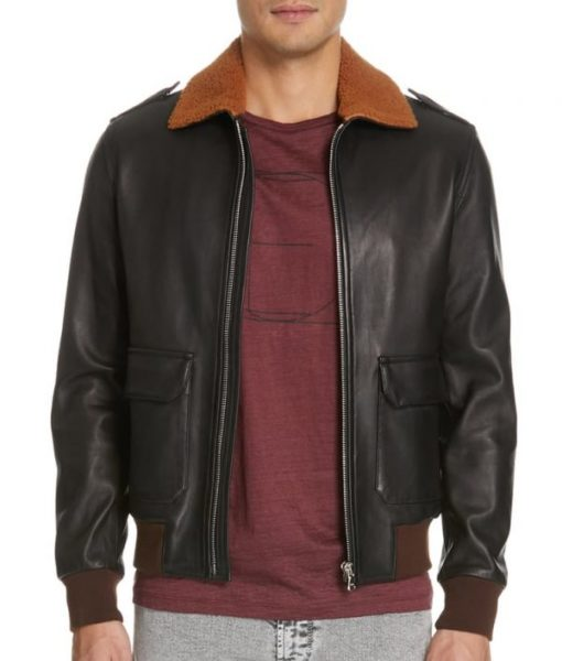 Mens-Genuine-Shearling-Collar-Leather-Brown-Bomber-Jacket-600×706
