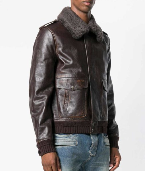 Mens-Turn-Down-Collar-Brown-Shearling-Fur-Collar-Jacket