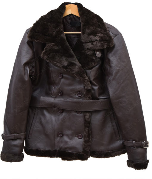 Belted Sheepskin Black Leather Jacket Coat For Women front