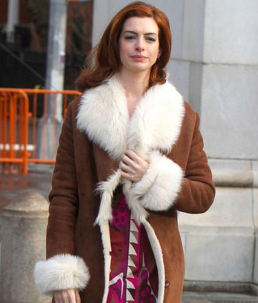 Modern Love Anne Hathaway Fur Brown Coat