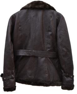 Belted Sheepskin Black Leather Jacket Coat For Women back