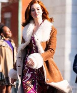 Modern Love Anne Hathaway Fur Brown Coat