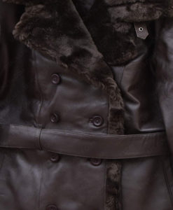 Belted Sheepskin Black Leather Jacket Coat For Women front