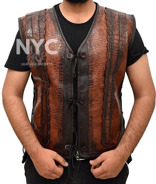 Dundee Crocodile Leather Vest worn by Danny McBride Front