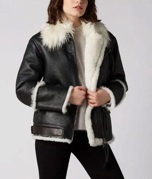 Aviator Black And White Shearling Jacket Front